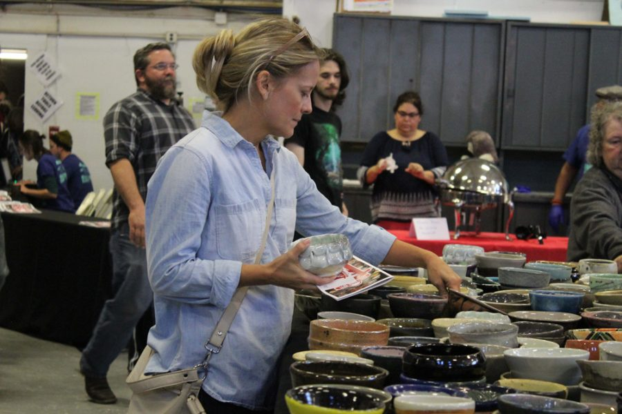 Saturday morning in Henrion hall, the Empty Bowls Chili Cook Off sold ceramic bowls made by students to raise money for the Kansas food bank.