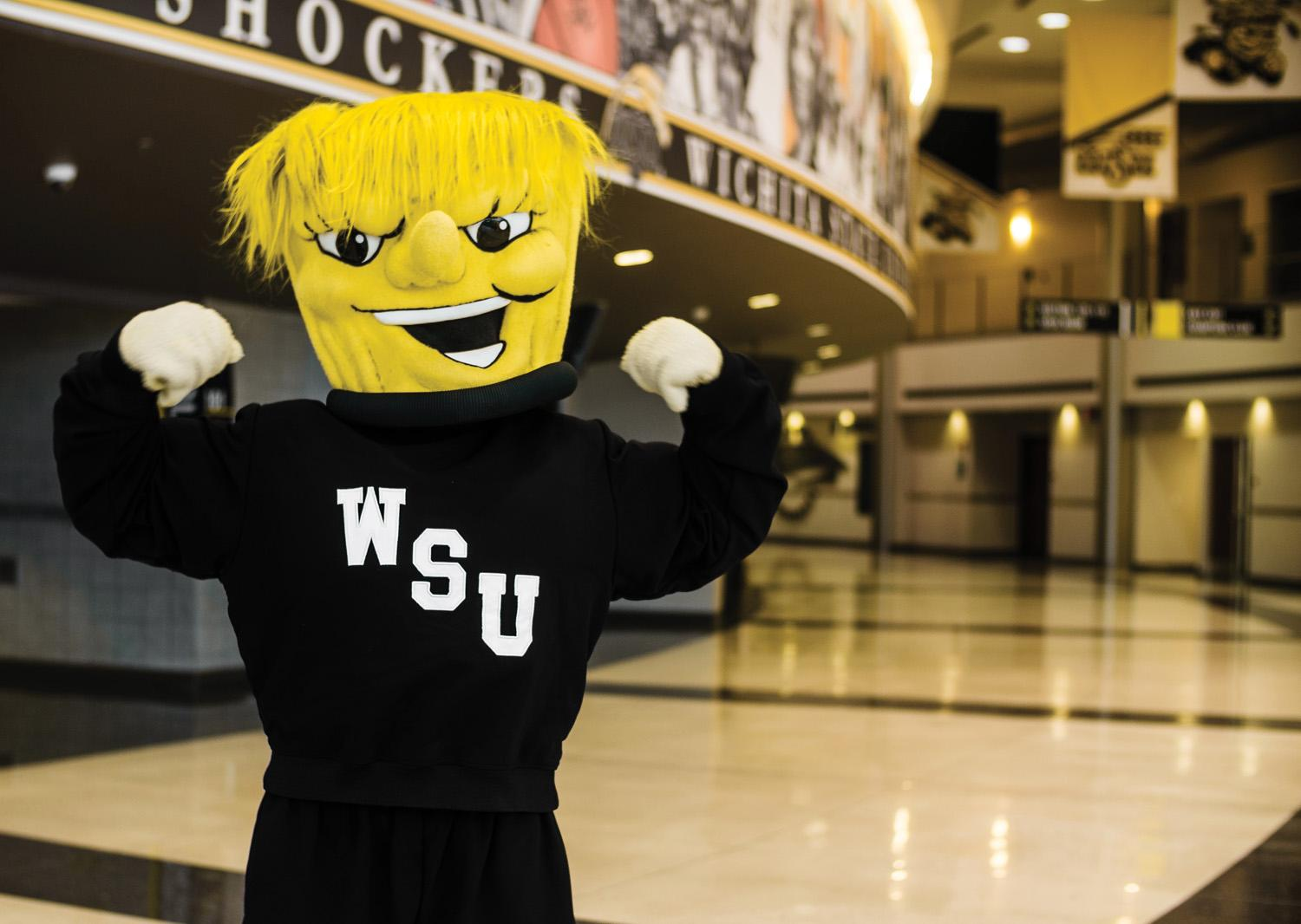 WuShock poses for the camera prior to entertaining the crowd at Koch Arena.