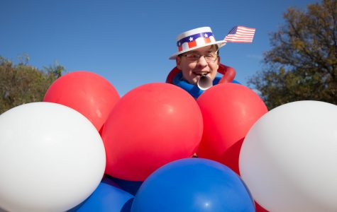 Wichita State student Kyle Richardson enjoys an election day celebration on campus. The festivities were part of an effort to encourage students to vote.