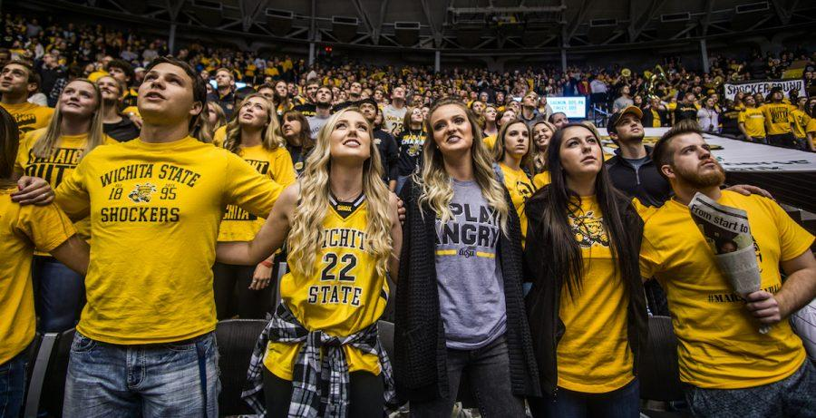 Wichita+State+fans+come+together+to+cheer+on+the+Shockers+in+Koch+Arena.+