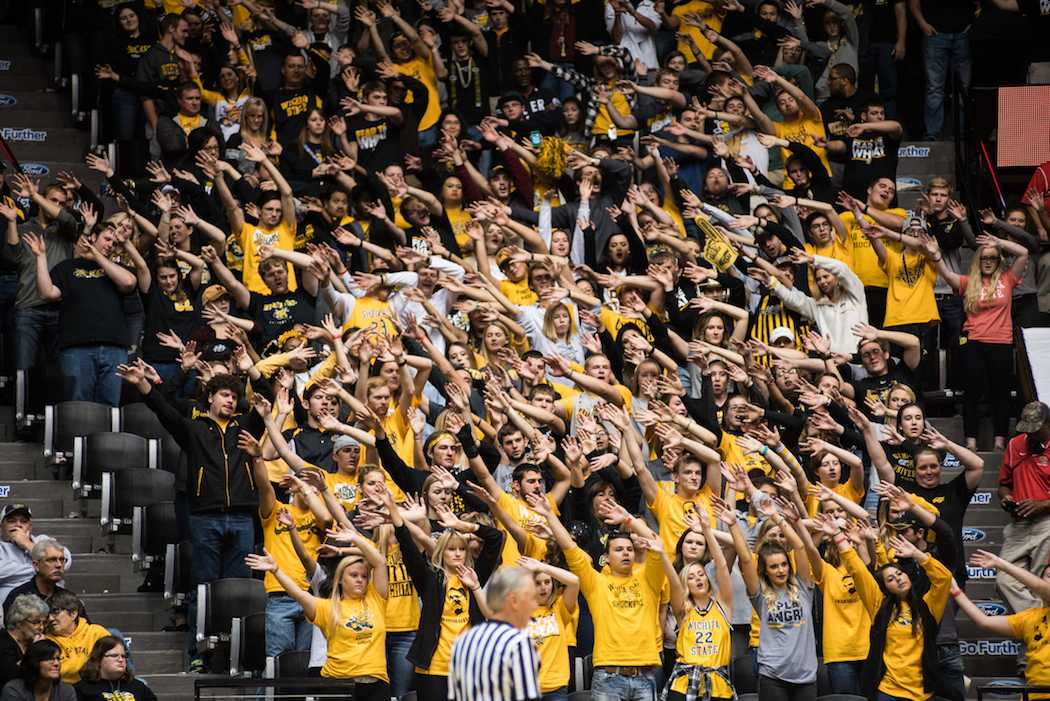 Wichita+State+fans+attempt+to+distract+a+free+throw+shooter.+