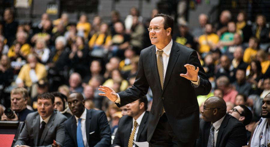 Coach+Gregg+Marshall+instructs+his+players+in+the+second+half+against+Long+Beach+State+Sunday+night+at+Charles+Koch+Arena.