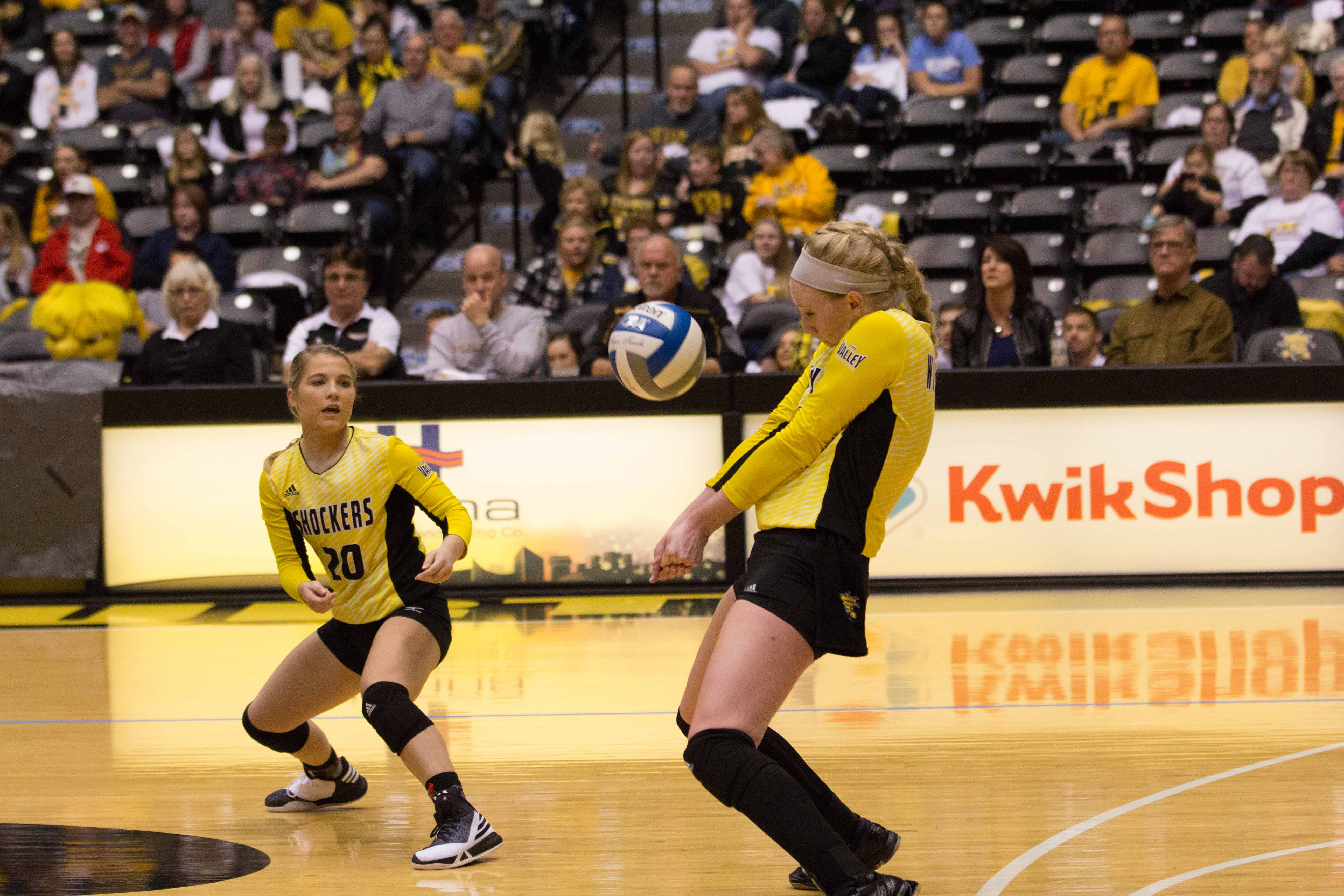 Wichita State senior Jody Larson (11) attempts to bump the ball back to Indiana State Saturday night in Charles Koch Arena.