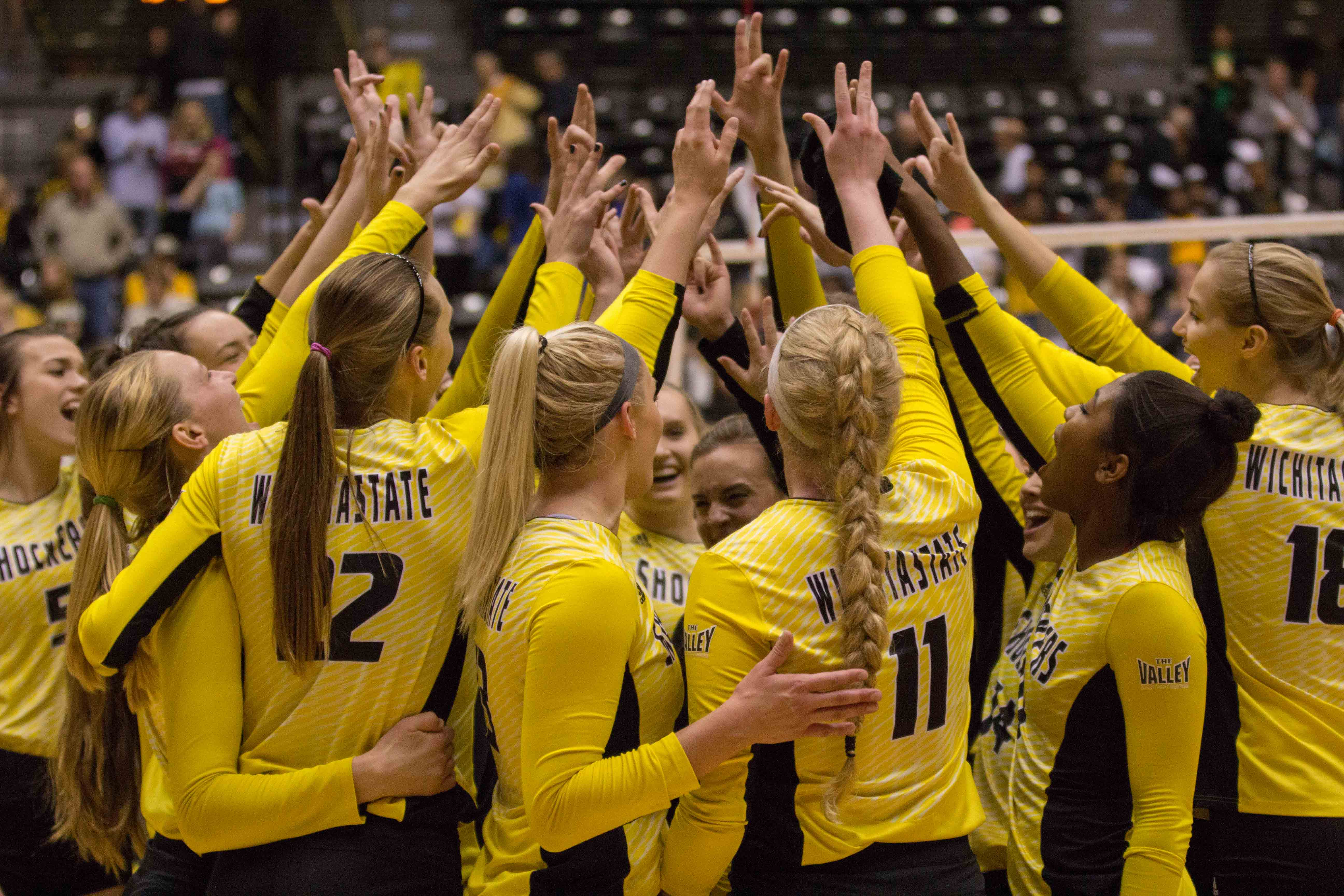 Wichita State puts their hands in after Saturday's sweep of Indiana State. The Shockers will find out who they play in the NCAA tournament on Sunday at 9 p.m.
