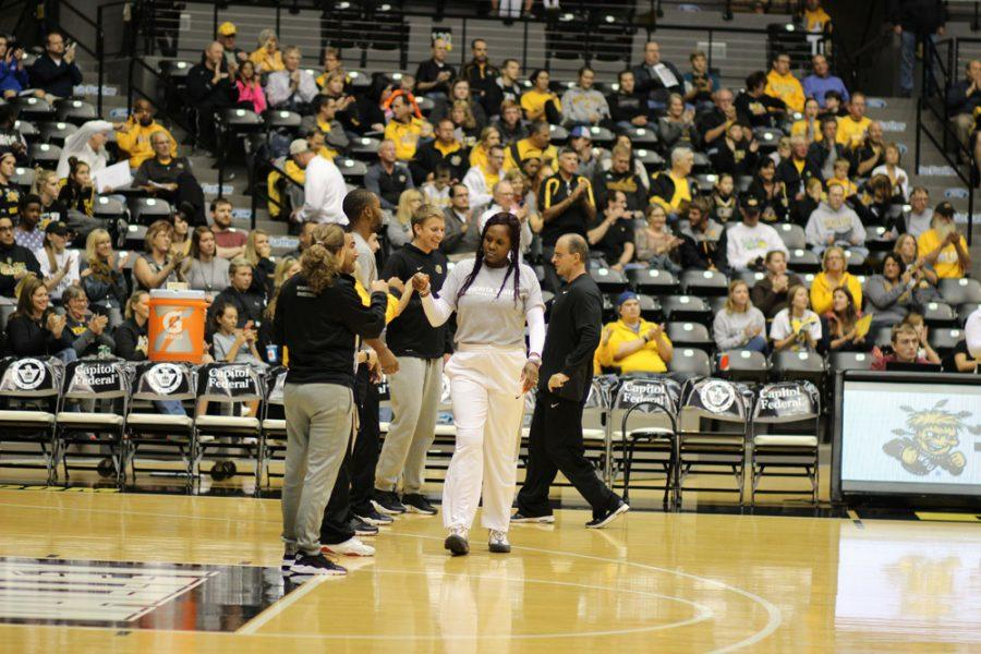 Bridgette+Gordon%2C+assistant+coach+for+the+women%E2%80%99s+basketball+team%2C+is+introduced+at+Shocker+Madness.