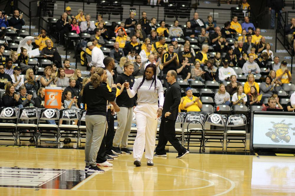 Bridgette Gordon, assistant coach for the women's basketball team, is introduced at Shocker Madness.