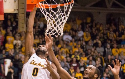 Wichita State Rashard Kelly (0) goes for a layup in the first half against Southern Nazaerene at Koch Arena on Tuesday evening.