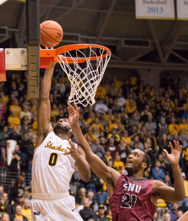 Wichita+State+Rashard+Kelly+%280%29+goes+for+a+layup+in+the+first+half+against+Southern+Nazaerene+at+Koch+Arena+on+Tuesday+evening.