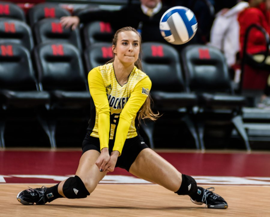 Senior Libero Dani Mostrom (6) returns a serve by TCU in the first set Friday night at Bob Devaney Sports Center in Lincoln, Nebraska. Wichita State ended up losing in four sets.