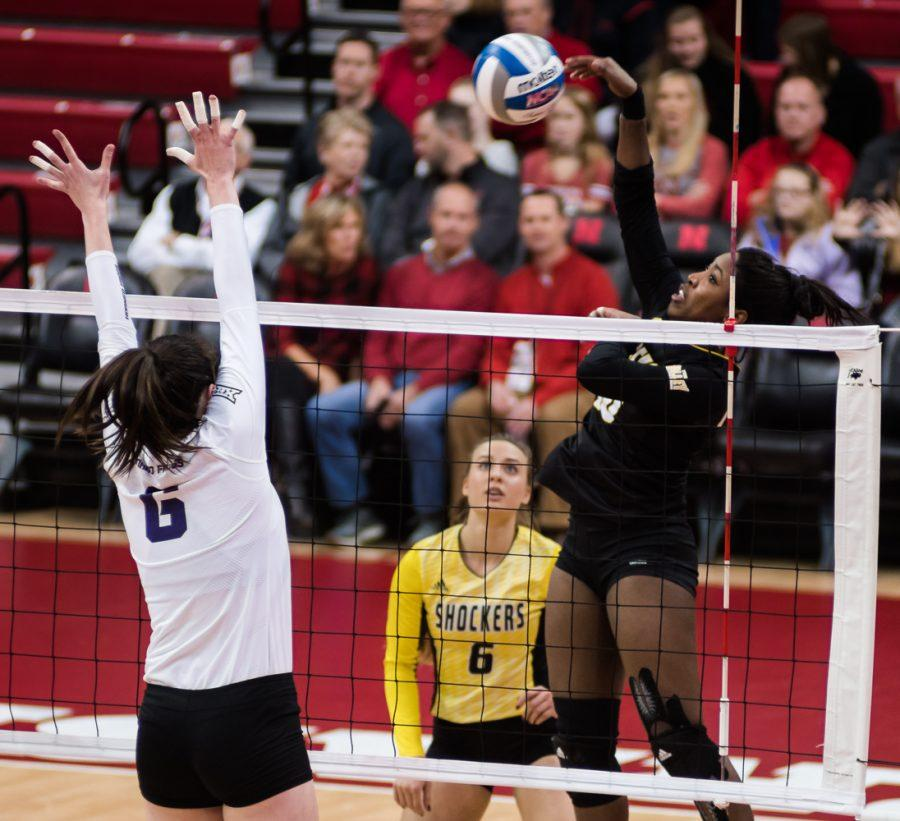 Sophomore+Tabitha+Brown+%2810%29+goes+for+a+kill+against+TCU+in+the+third+set+Friday+night+at+Bob+Devaney+Sports+Center+in+Lincoln%2C+Nebraska.+Wichita+State+ended+up+losing+in+four+sets.