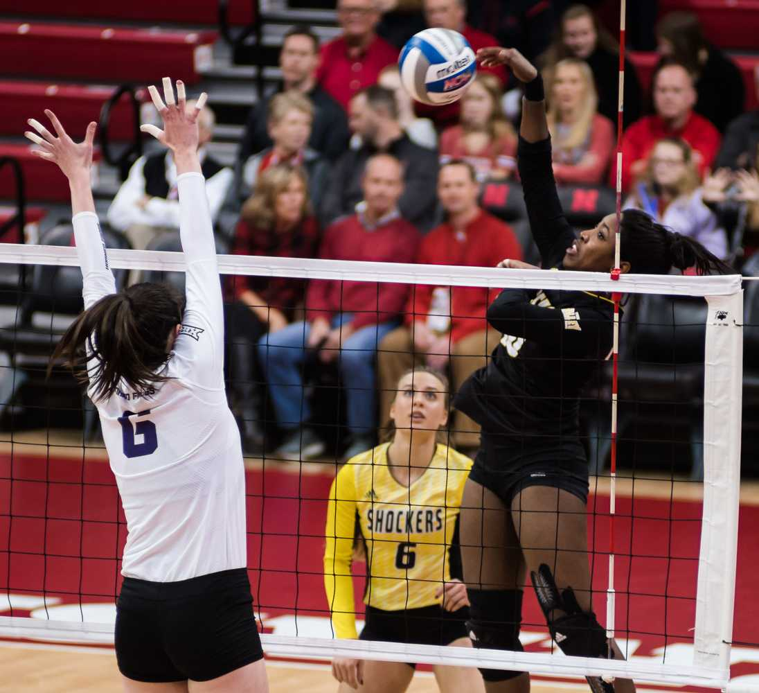 Sophomore Tabitha Brown (10) goes for a kill against TCU in the third set Friday night at Bob Devaney Sports Center in Lincoln, Nebraska. Wichita State ended up losing in four sets.