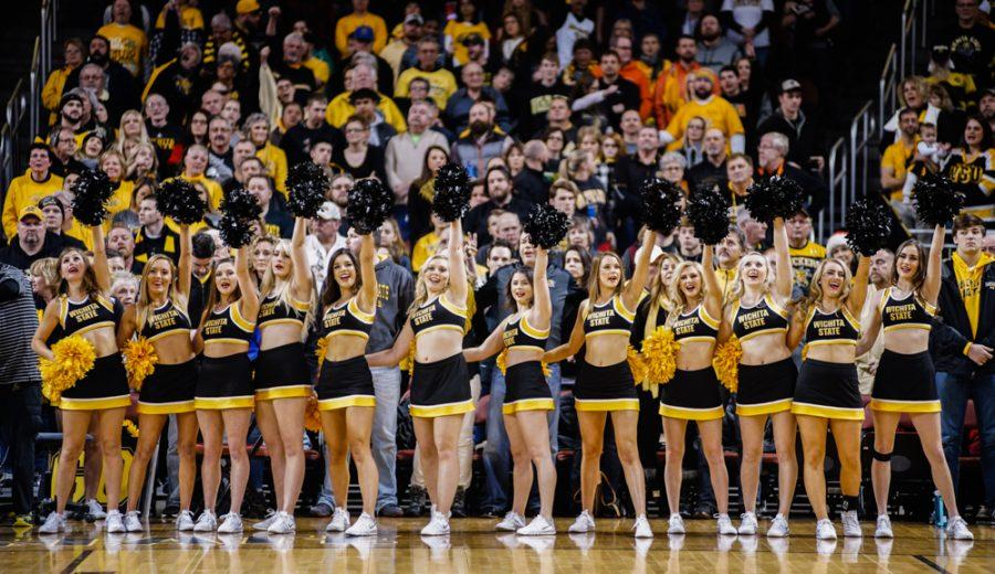 The cheer squad entertains the crowd prior to the annual INSTRUST Bank Arena game against OSU Saturday evening. The Shockers fell to Oklahoma State by the score of 93-76.