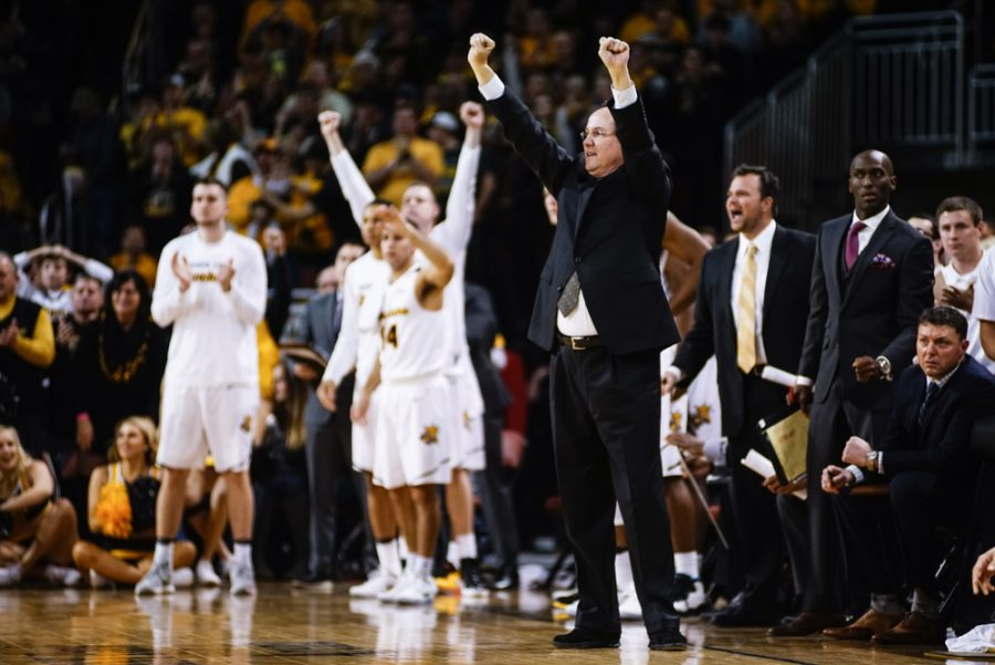 Coach Gregg Marshall calls a play in the first half during the annual INSTRUST Bank Arena game Saturday evening. The Shockers fell to Oklahoma State by the score of 93-76.