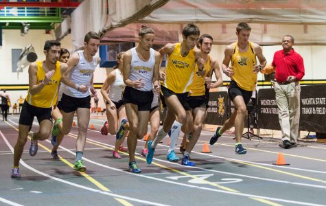 The men and women run the 3000 meters Friday afternoon at the intrasquad meet at the Heskett Center.
