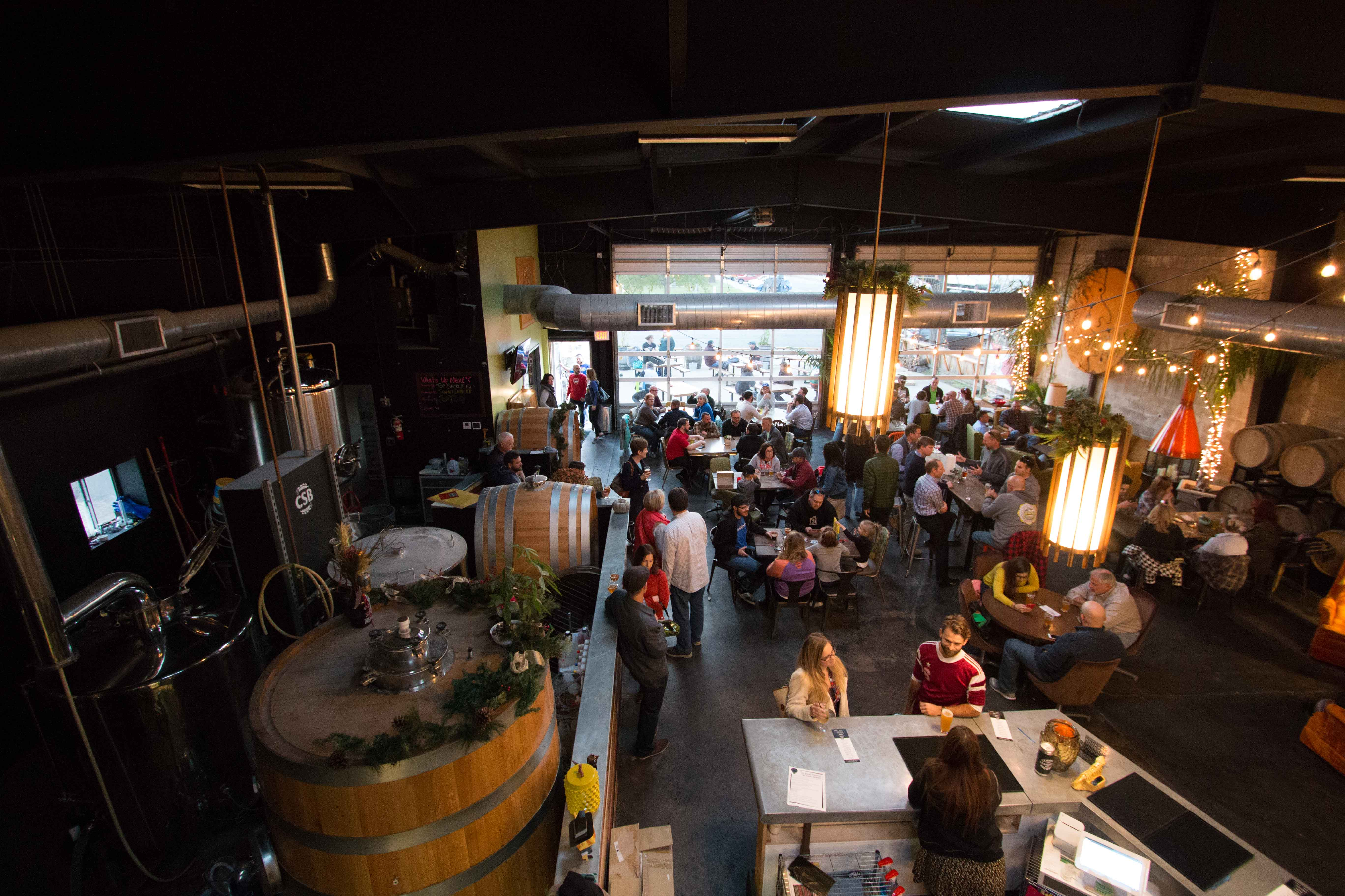 Central Standard Brewing's inside is packed on a chilly Wednesday evening. CSB offers indoor and outdoor seating, weather permitting.
