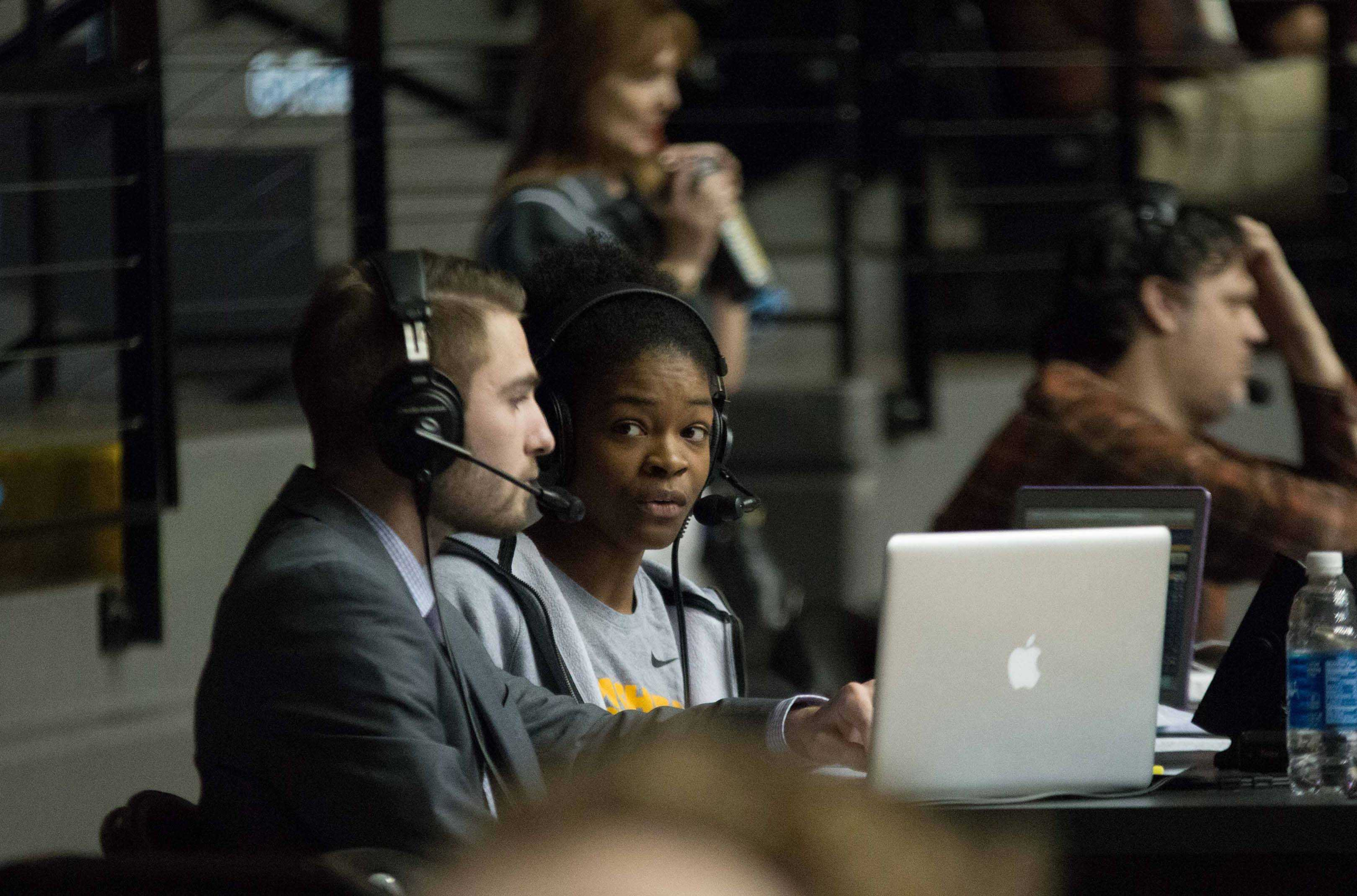 Wichita State senior Jaleesa Chapel commentates on Illinois State game at Charles Koch Arena. Chapel did her first television broadcast for The Valley on ESPN3.