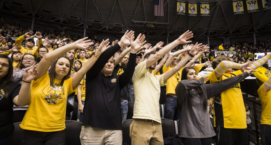 Fans cheer on the Shockers during Wednesdays game against Drake in Charles Koch Arena. (Jan. 4, 2017)