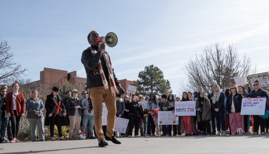 Student+body+president+Joseph+Shepard+speaks+to+the+crowd+during+the+%E2%80%9CNo+Ban%2C+No+Wall%E2%80%9D+peace+rally+held+outside+of+the+Rhatigan+Student+Center+on+Tuesday+afternoon.+The+rally+showed+love+and+support+to+anyone+who+felt+relegated+after+President+Trump%E2%80%99s+recent+executive+orders.+Shepard+and+speakers+insisted+that+everyone+no+matter+or+country+of+origin+is+welcome+on+WSU%E2%80%99s+campus.+%28Jan.+31%2C+2017+file+photo%29