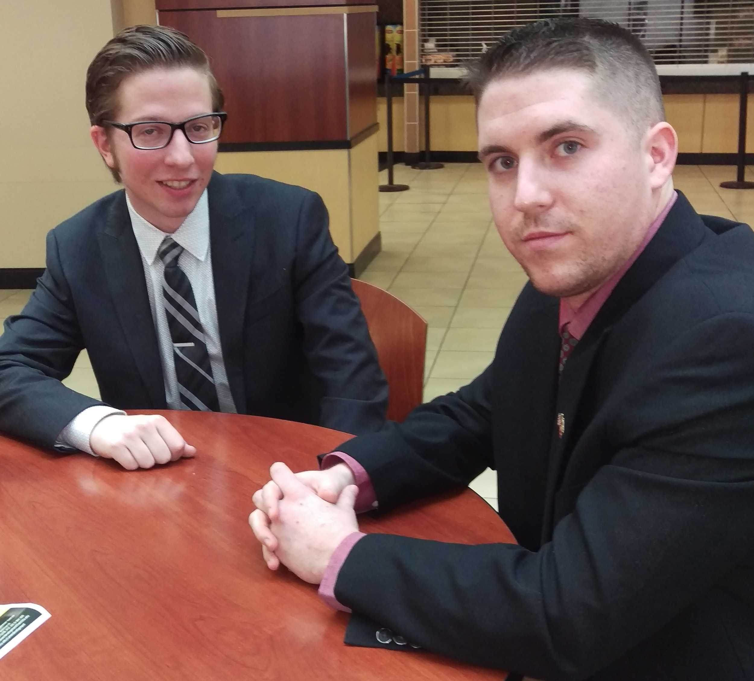 Cale Ostby, left, and Dan Corrieri talk about the issue of concealed carry on campus. (Feb. 15, 2017)