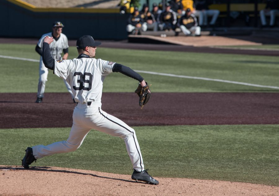 Junior Cody Tyler pitches against Grand Canyon University during the second game of the double header at Eck Stadium Saturday afternoon. Tyler pitched a career high nine strikeouts.