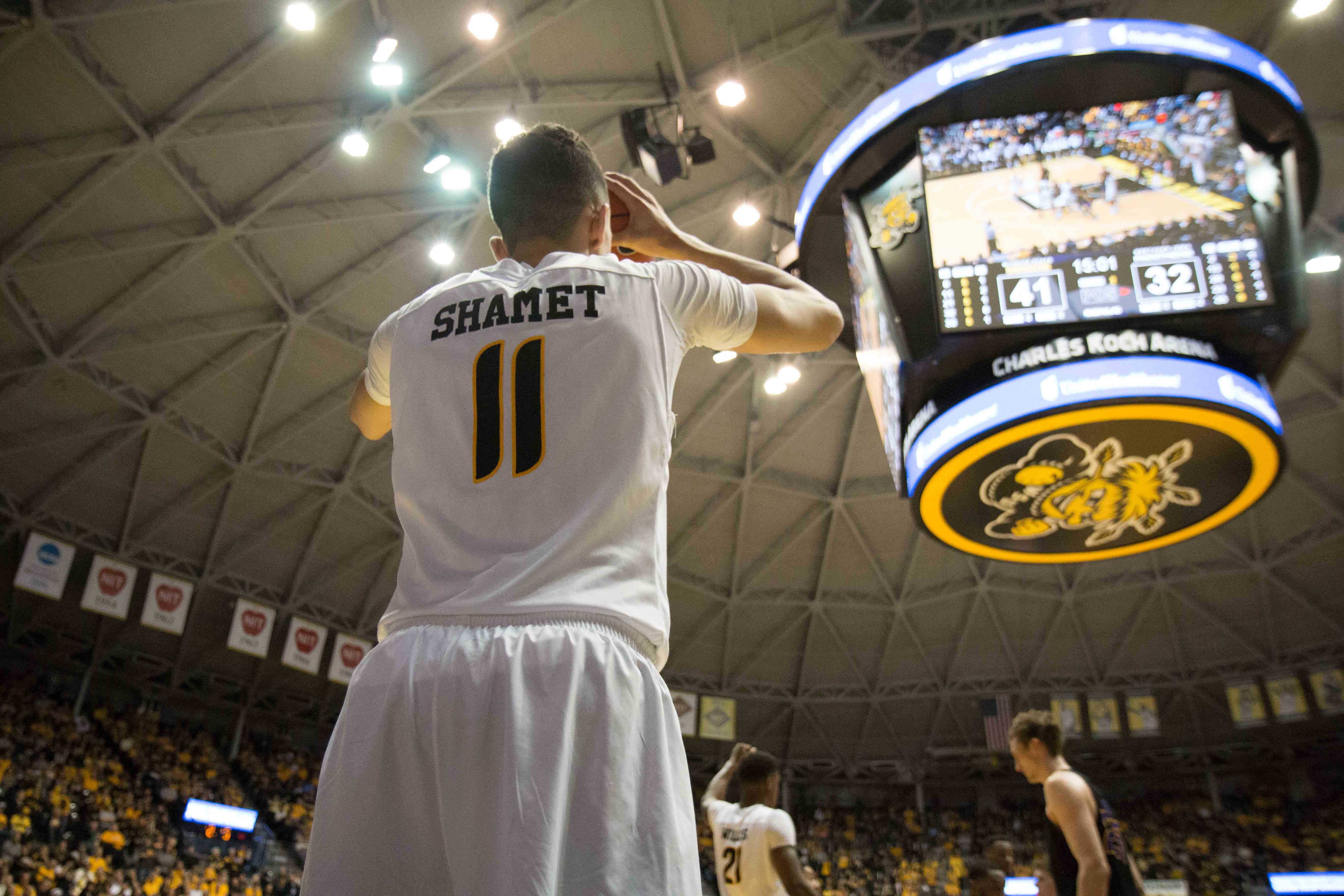 Wichita State guard Landry Shamet prepares to pass the ball to a teammate. Shamet played a total of 28 minutes during the game against Northern Iowa. (Feb. 18, 2017)
