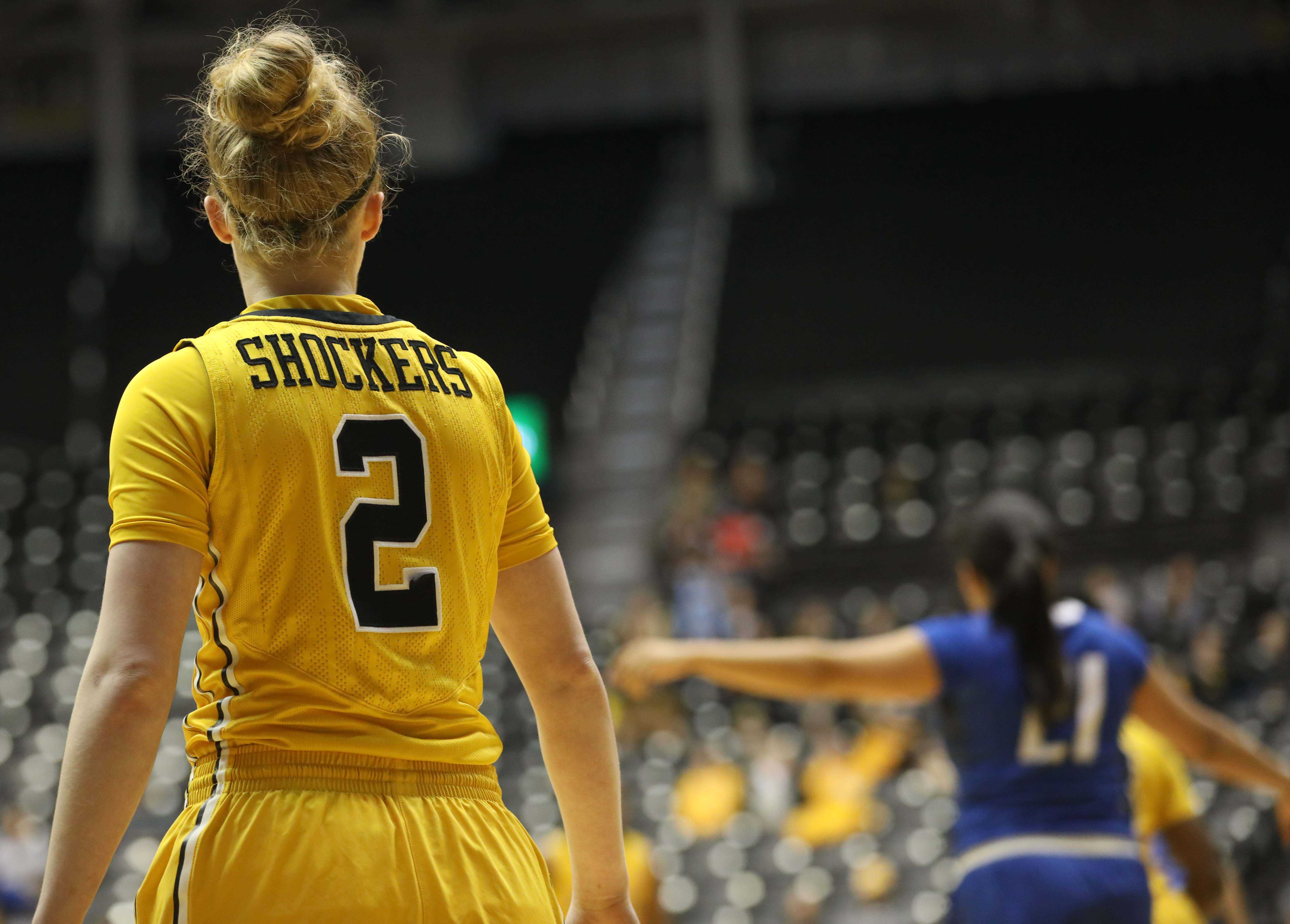 Wichita State senior Hannah Mortimer (2) looks towards her team Sunday afternoon in Charles Koch Arena. Mortimer is an outgoing senior and was honored in a ceremony after the game. (Feb. 26, 2017)