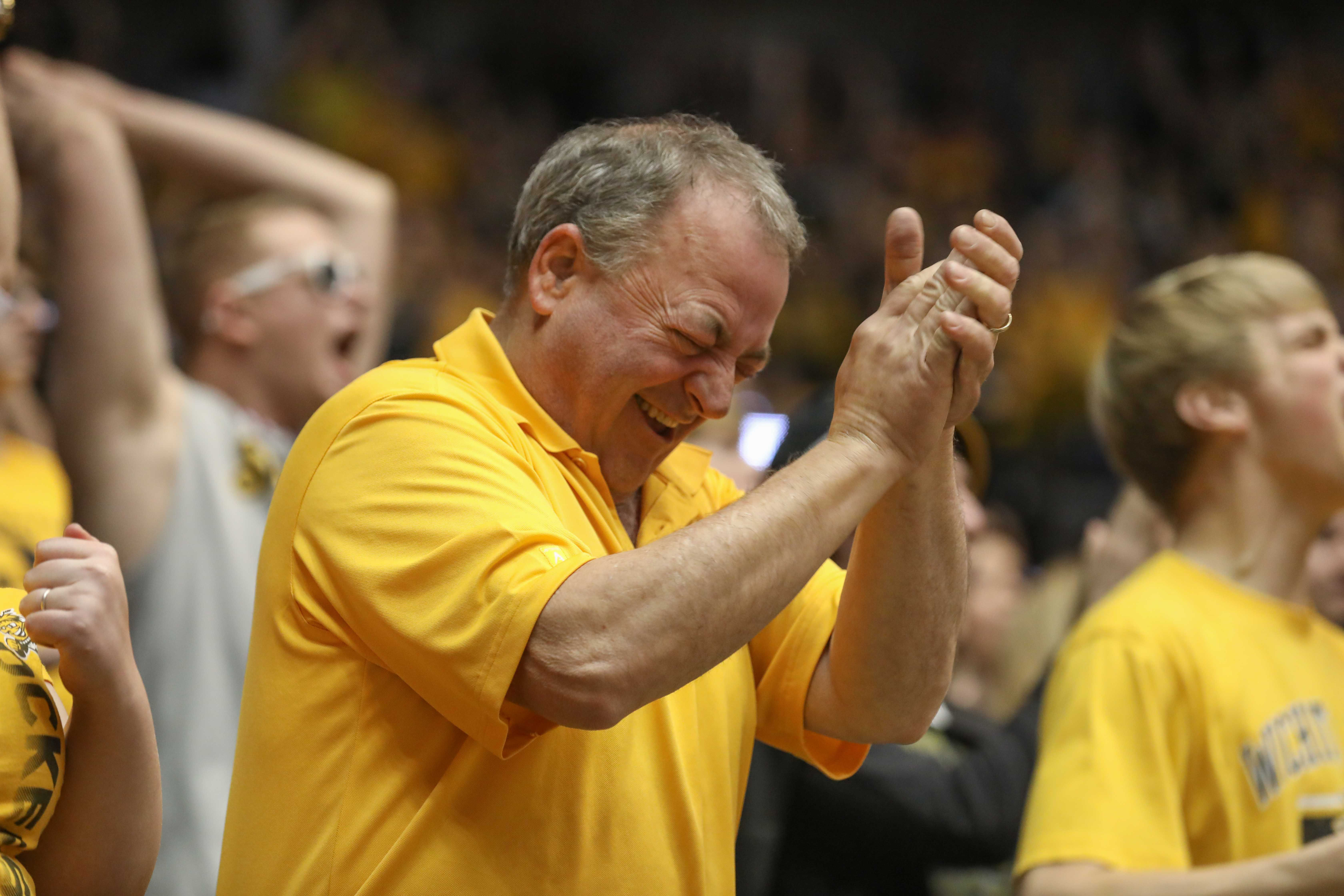 A Wichita State fan cheers during the Shockers win over Northern Iowa. (Feb. 18, 2017)