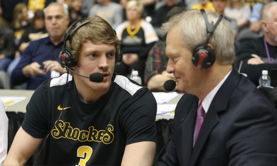 Former+Wichita+State+guard+Ron+Baker+Speaks+with+ESPN%E2%80%99s+Mitch+Holthus+during+a+timeout.+Baker+signed+with+the+New+York+Knicks+after+going+undrafted+in+2016%2C+he+remains+on+their+active+roster.+%28Feb.+18%2C+2017%29
