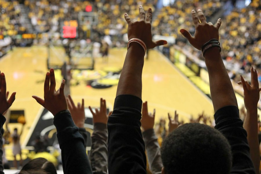 Wichita+State+fans+put+their+%E2%80%9CShockers+up%E2%80%9D+during+the+second+half+of+Saturday%E2%80%99s+home+game.+%28Feb.+18%2C+2017%29