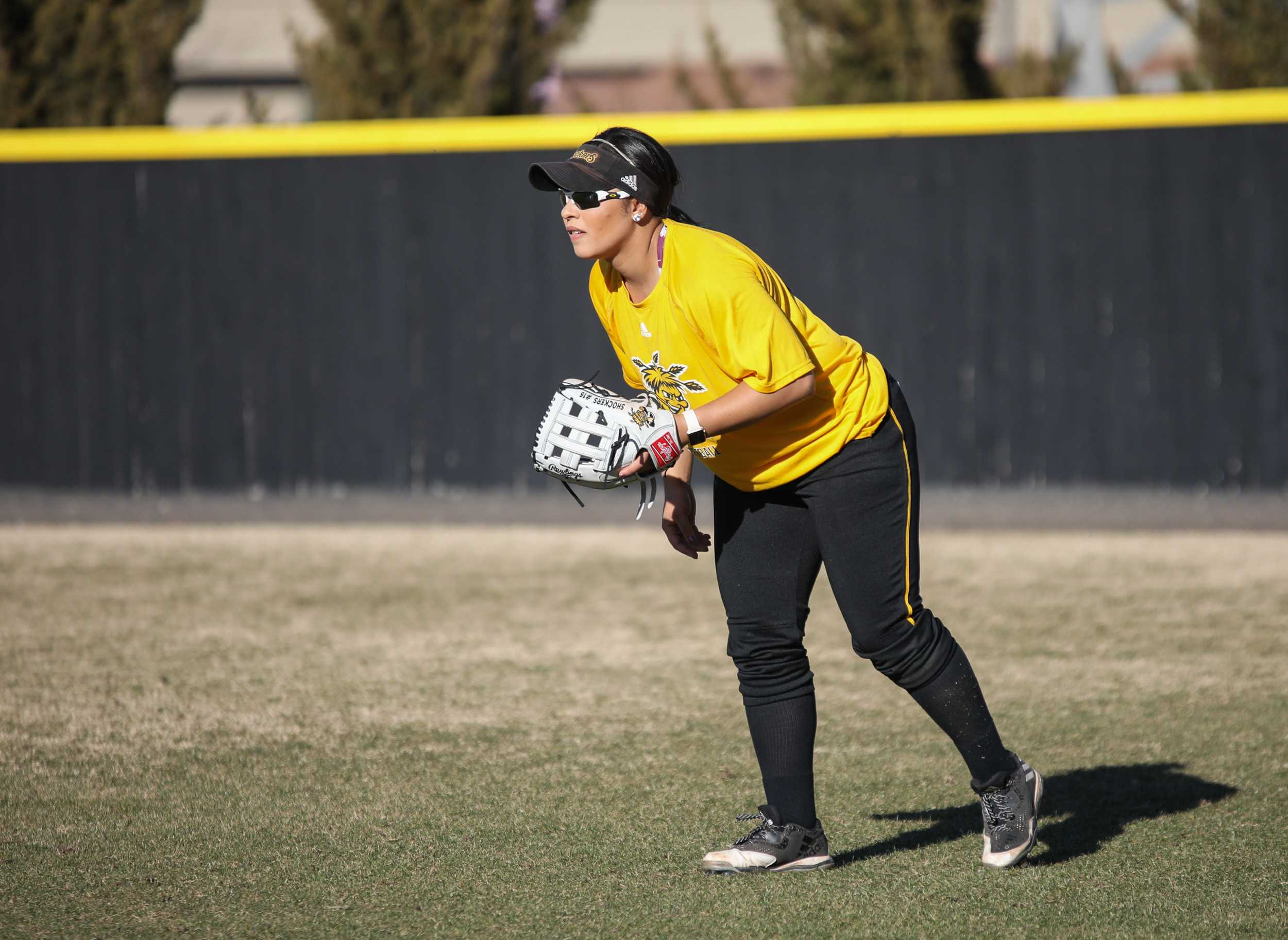 Paige Luellen plays right field in a scrimmage on Feb. 7, 2017.