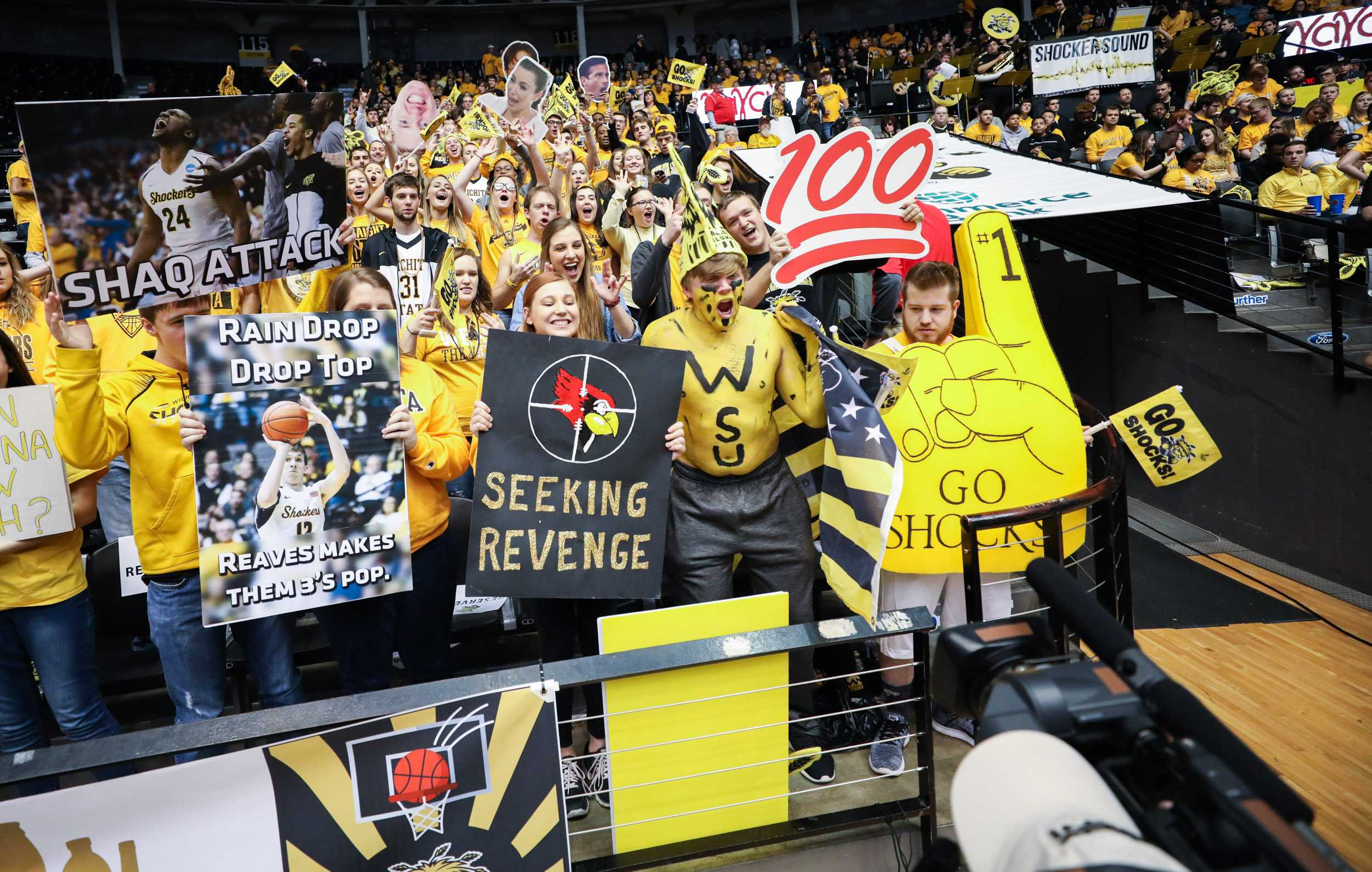 File photo: Wichita State fans get hype for the TV cameras before the game against the Illinois State Redbirds. (Feb. 4, 2017)