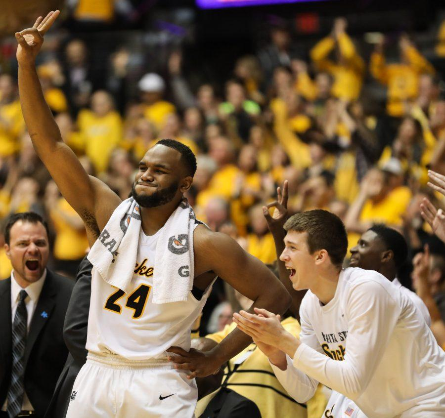 Wichita States Shaquille Morris (24) and Austin Reaves (12) celebrate a Shocker three against Illinois State in the second half. Shockers shot 38.1-percent from past the arc in Koch Arena on Saturday night. (Feb, 4, 2017)
