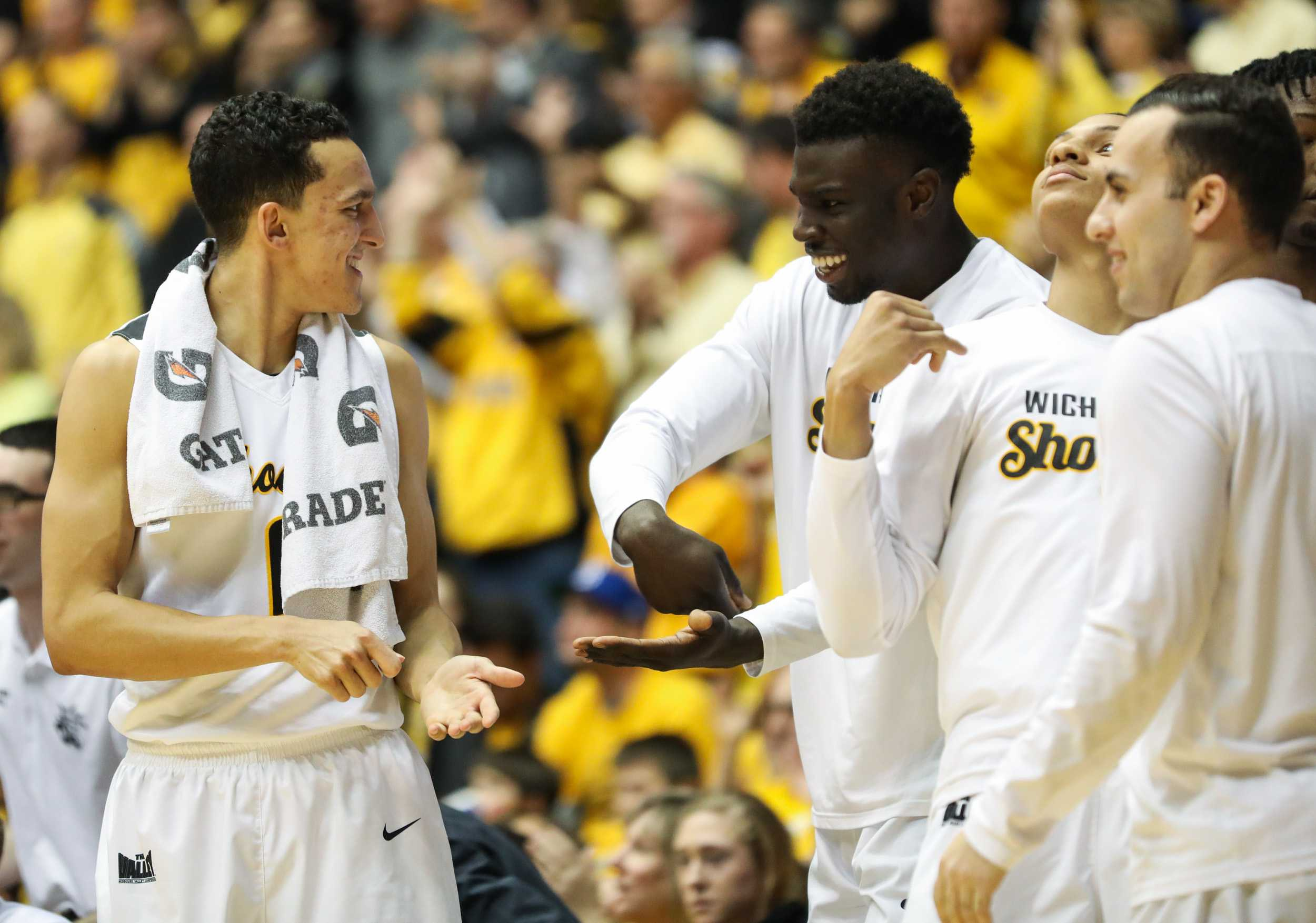 Wichita State's Landry Shamet (11) and Eric Hamilton (25) celebrate during the game against Illinois State in Koch Arena. (Feb. 4, 2017)