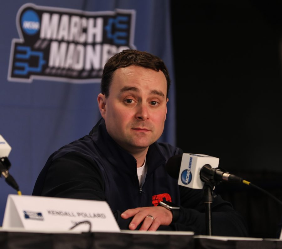 Dayton%E2%80%99s+head+coach+Archie+Miller+takes+questions+from+the+media+during+a+pre-game+press+conference+the+day+before+the+Flyers+take+on+the+Shockers+in+Indianapolis.+%28Mar.+16%2C+2017%29