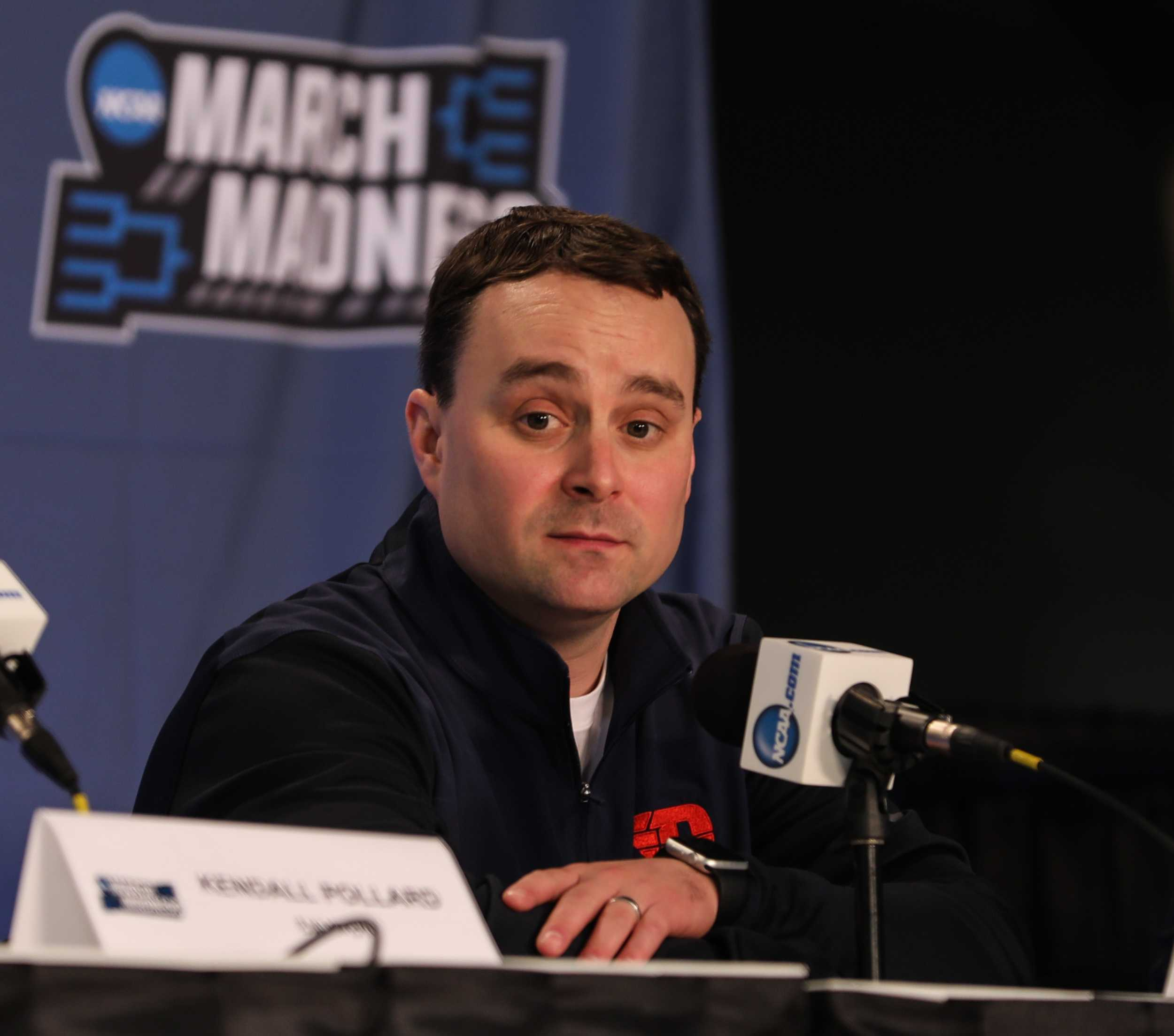 Dayton's head coach Archie Miller takes questions from the media during a pre-game press conference the day before the Flyers take on the Shockers in Indianapolis. (Mar. 16, 2017)