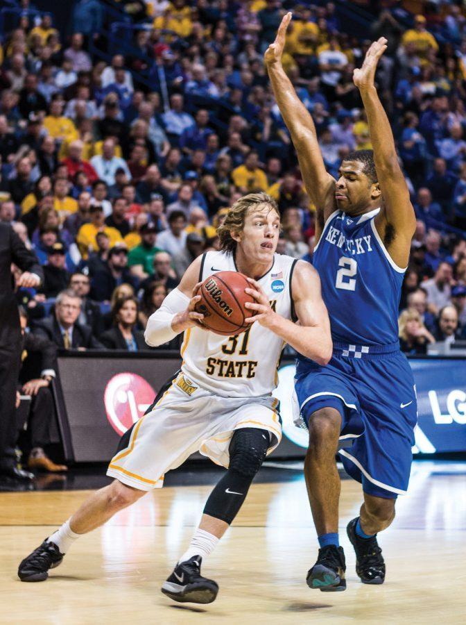 Ron Baker drives to the basket during the Wichita State vs Kentucky game Sunday evening inside the Scottrade Center Arena in St. Louis for the Round of 32 of the NCAA Tournament. That wasnt enough as The Shockers failed to beat the Wildcats and lost 78-76.