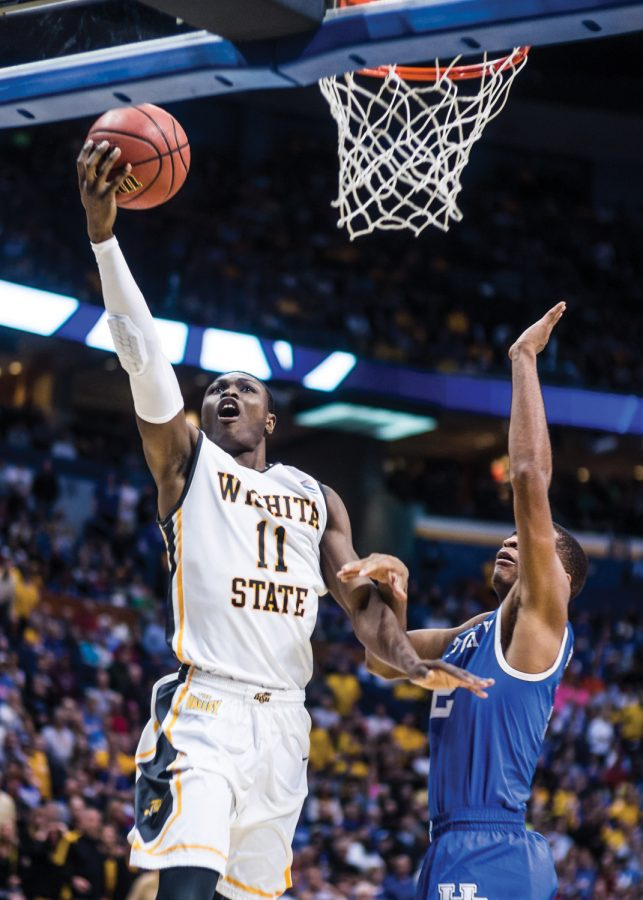 Senior Cleanthony Early soars to the hoop during the Wichita State vs Kentucky game Sunday evening inside the Scottrade Center Arena in St. Louis for the Round of 32 of the NCAA Tournament. The Shockers failed to beat the Wildcats and lost 78-76.
