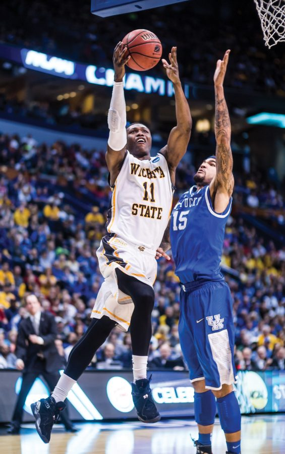 Senior Cleanthony Early drives to the basket during the Wichita State vs Kentucky game Sunday evening inside the Scottrade Center Arena in St. Louis for the Round of 32 of the NCAA Tournament. The Shockers failed to beat the Wildcats and lost 78-76.