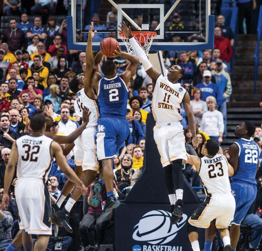 Cleanthony Early blocks the ball during Sundays game against Kentucky. Kentucky won 78-76, ending the Shockers perfect season.
