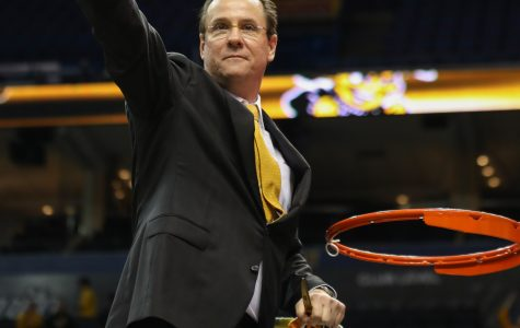 Head coach Gregg Marshall gestures to the fans. Marshall made a point to turn to each side of the arena and thank the fans for their support.