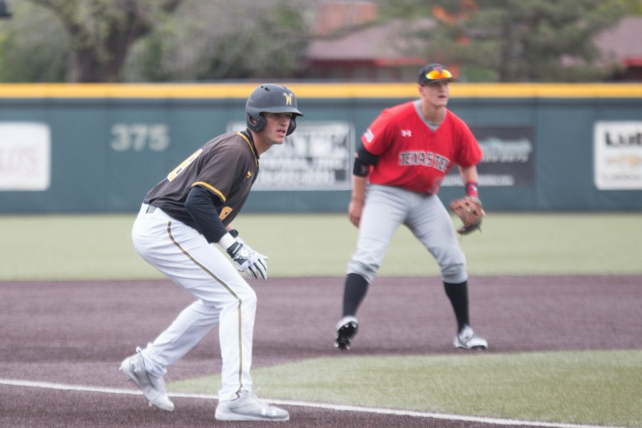 Freshman Jacob Katzfey waits for a chance to run to home base during the game against Texas Tech Saturday.