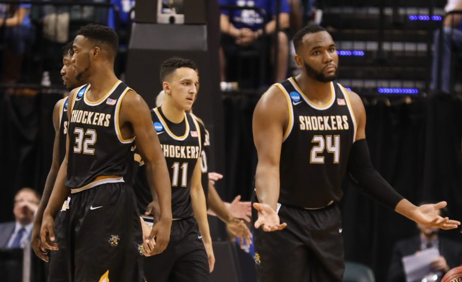 Wichita State center Shaquille Morris gestures after being fouled against Kentucky  during the second half in the second round of the NCAA Tournament in Indianapolis. (Mar. 19, 2017)