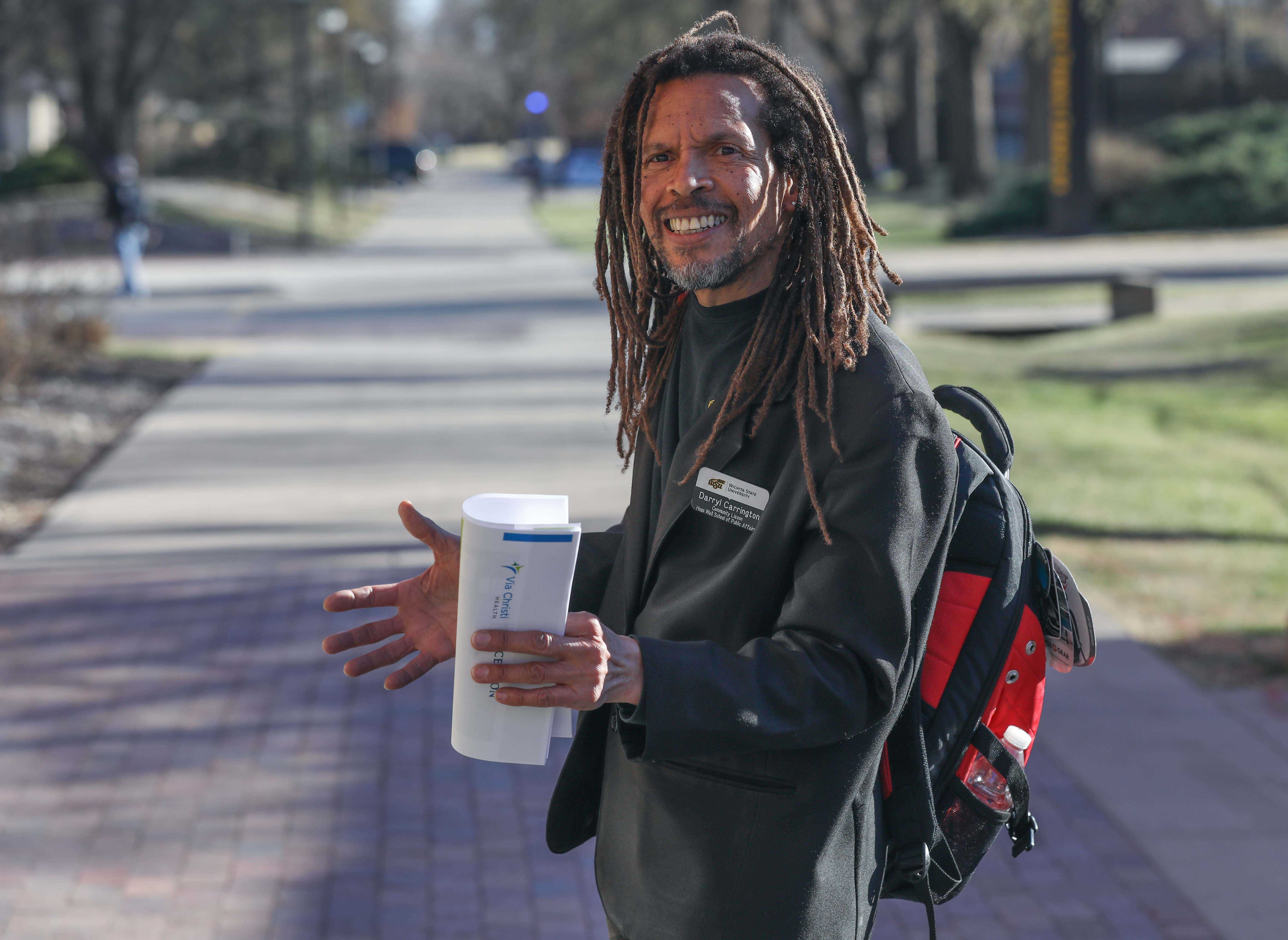 Community liaison Darryl Carrington stands on Parkview, the walkway that stretches from Fairmount Park and neighborhood into WSU.