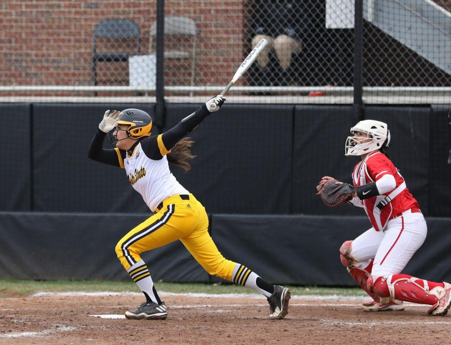 Wichita State freshman Madison Perrigan (00) looks on after a hit Saturday afternoon against Illinois State. (Mar. 25, 2017)