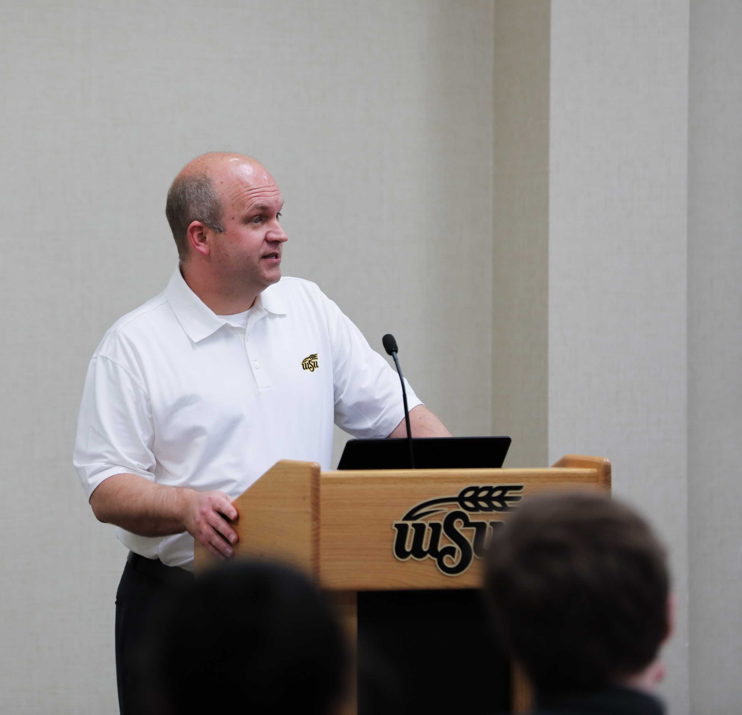 John Tomblin, vice president for research and technology transfer, speaks at a student government association meeting. Tomblin is the president of the nonprofit organization that manages Innovation Campus. (File photo; Mar. 1, 2017)