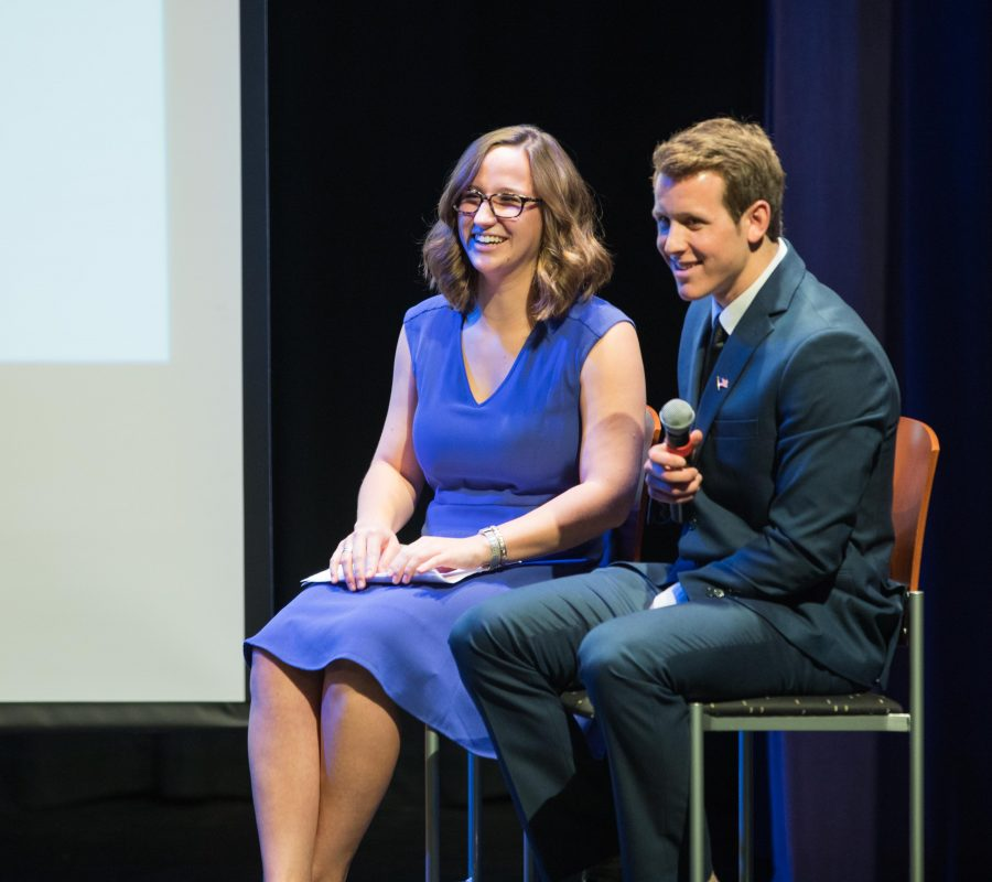 Hopeful SGA vice president Breck Towner and his running mate Paige Hungate answer questions from the audience at the SGA presidential debate in the CAC theater.  Towner does not like pineapple on pizza.