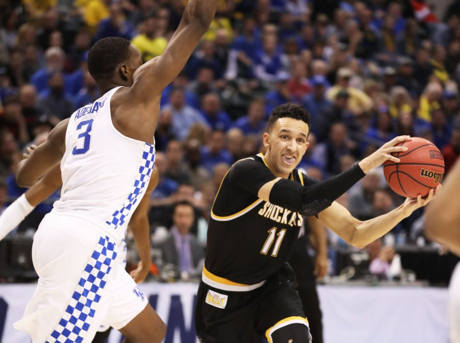 Wichita+State%27s+Landry+Shamet+%2811%29+fakes+a+pass+before+shooting+over+Kentucky+forward+Bam+Adebayo+%283%29.+