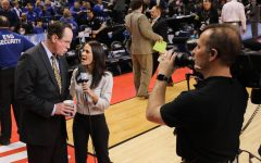 Wichita State head coach Gregg Marshall talks to CBS news anchor after the Shockers' 64 – 58 victory over the Dayton Flyer  at Bankers Life Fieldhouse in Indianapolis. (Mar. 17, 2017)