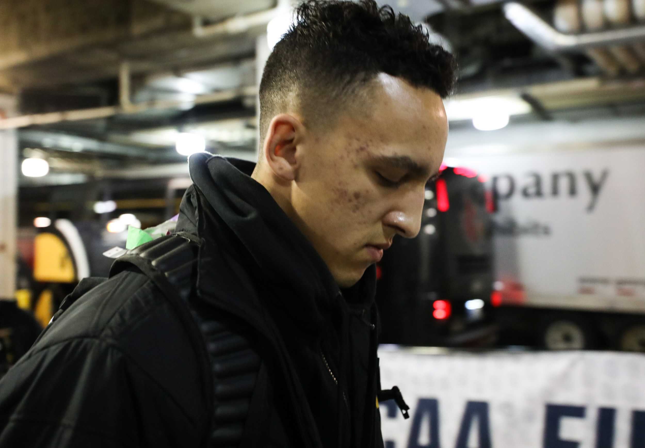 Wichita State's Landry Shamet enters Bankers Life Fieldhouse in Indianapolis on Friday afternoon before the NCAA Tournament game against Dayton. (Mar. 17, 2017)