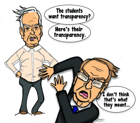 Editorial Cartoon: Wichita State administration responds to call for transparency